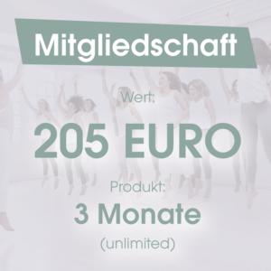 Mitgliedschaft 3 Monate 250 Euro