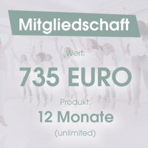 Mitgliedschaft 12 Monate 735 Euro